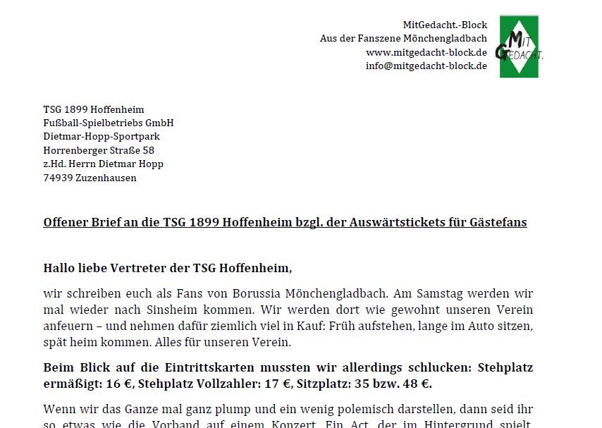 Offener Brief nach Hoffenheim - MitGedacht.